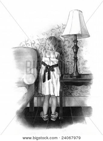 Pencil Drawing of Small Girl Pouting