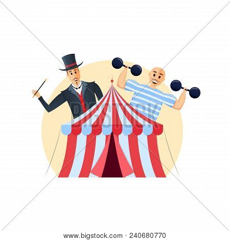 Circus Building, Shapito To View Of Show With Tricks, Circus Artists. Invitation To Event, Presentat