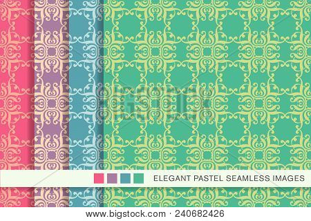 Seamless Pastel Background Set Curve Square Spiral Curve Cross Frame Crest, Collection Of Stylish Vi