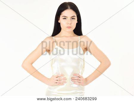 Femininity Concept. Fashion Model Wears Expensive Fashionable Evening Dress Or Wedding Dress. Girl O