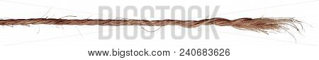 End Of Jute Rope With Fringe Isolated On White Background