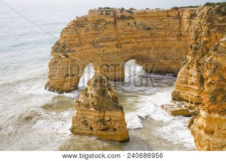 The famous beach of Praia da Marinha. This beach is a part of famous tourist region of Algarve.