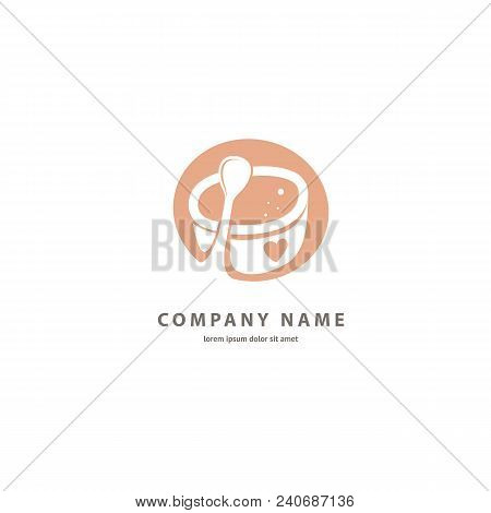 Illustration Design Of Counter Space Logotype Coffee. Vector Icon Cup With Drink.