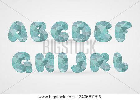 A B C D E F G H I L K L Polygonal Geometric Letters. Decorative Blue Geometric Alphabet Isolated Ico