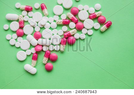 Colorful Pills And Drugs In Close Up.assorted Pills And Capsules In Medicine. Drugs Of Various Kinds