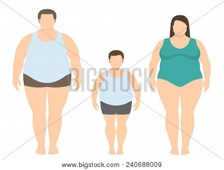 Fat Man, Woman And Child In Flat Style. Obese Family Vector Illustration. Unhealthy Lifestyle Concep