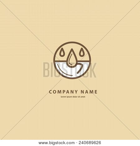 Illustration Design Of Monoline Logotype Coffee. Vector Icon Cup With Drink.