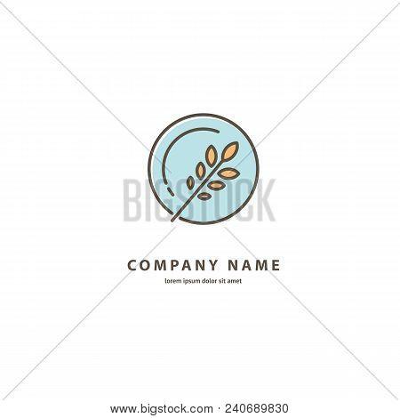 Illustration Design Of Elegant Line Curve Logotype Bakery. Vector Icon Grain Wheat On Plate.
