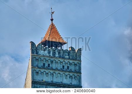 Top Of The Tower Telephoto View At Bran Medieval Castle In Transylvania Romania