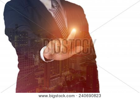 Double Exposure Smart Hands Touch Close Up Shot Young Businessman In Smart City Concept.