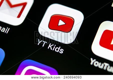 Sankt-petersburg, Russia, May 10, 2018: Youtube Kids Application Icon On Apple Iphone X Smartphone S