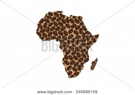 Africa -  Map Of Coffee Bean,  Africa Map Made Of Coffee Beans,