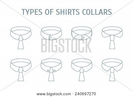 Male Shirt Collars Different Types Icons Set On A Background Thin Line Design Style. Vector Illustra