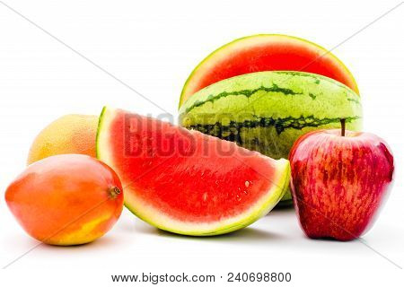 Fruits Collection. Half Cut And Whole Tropical Summer Fruits. Red Apple, Watermelon, Mango, Orange I