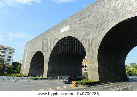 Taiping Gate Is One Gate Of City Wall In Nanjing, Jiangsu Province, China. Nanjing City Wall Was Bui