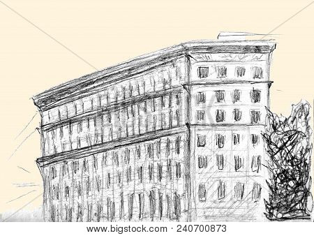 Hand Drawn Sketch Of Building. Charcoal Pencil Technique. Illustration Of Hous In European Old Town.