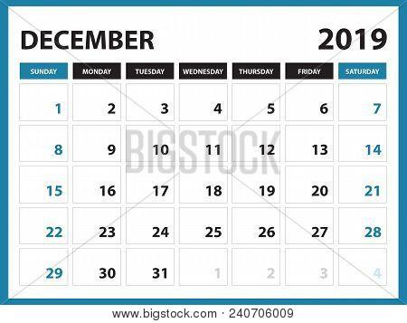 Desk Calendar For December 2019 Template, Printable Calendar, Planner Design Template,  Week Starts