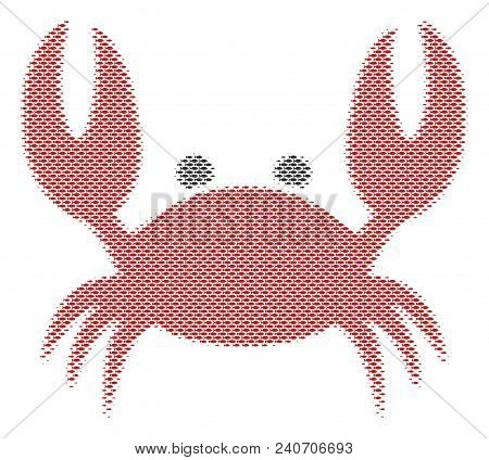 Fish Crab Halftone Mosaic. Vector Fish Pictograms Are United Into Crab Composition. Eco Design Conce