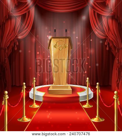Vector Illustration With Wooden Tribune With Microphones, Podium, Red Curtains And Carpet. Stage For