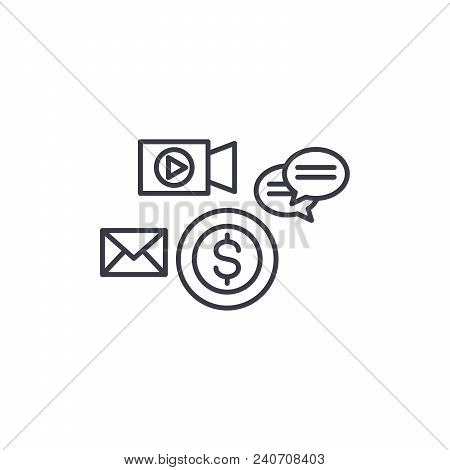 Marketing Channels Line Icon, Vector Illustration. Marketing Channels Linear Concept Sign.