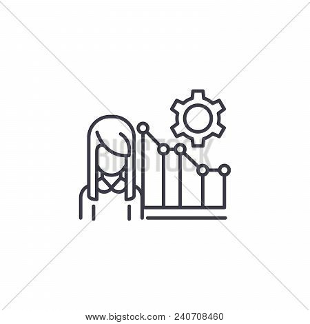 Marketing Manager Line Icon, Vector Illustration. Marketing Manager Linear Concept Sign.