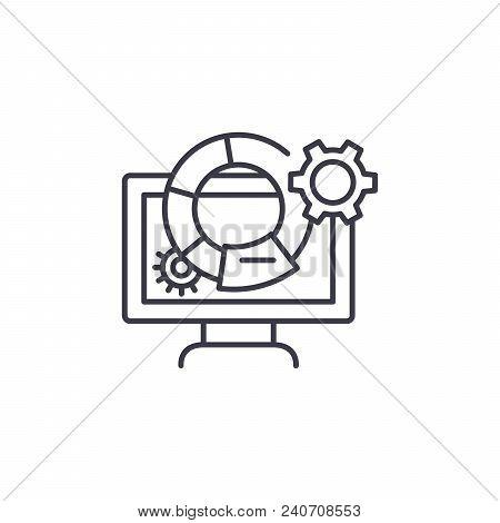 Marketing Metrics Line Icon, Vector Illustration. Marketing Metrics Linear Concept Sign.