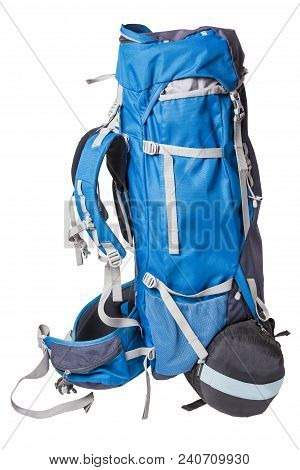 Blue Backpack For Hiking Isolated On White Background. Side View Of A Professional Backpack For Hiki