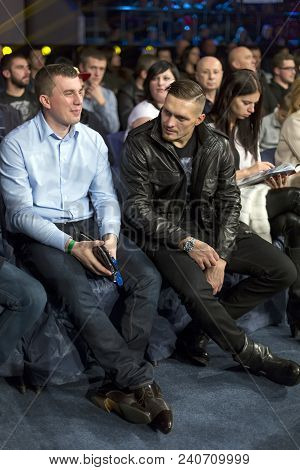 Brovary. Ukraine, 14.11.2015 Usyk, Wbo Cruiserweight Champion, Is Sitting As A Spectator Among Other