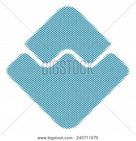 Fish Waves Currency Halftone Collage. Vector Fish Items Are Combined Into Waves Currency Illustratio