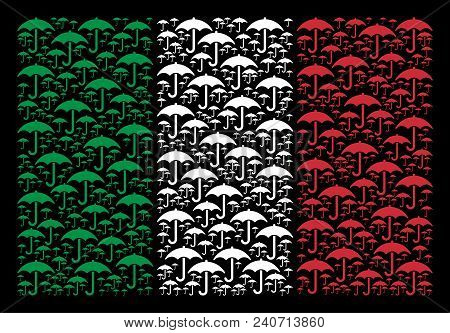 Italian Flag Flat Concept Created Of Umbrella Icons On A Black Background. Vector Umbrella Design El