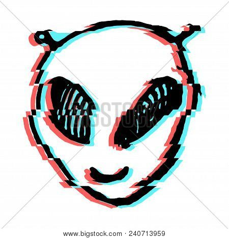 Aliens Face Drawing With Tv Glitch Effect.