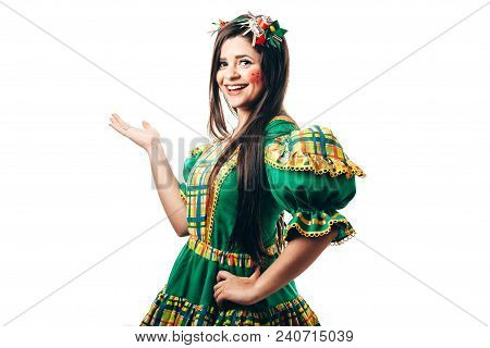 Brazilian Woman Wearing Typical Clothes For The Festa Junina
