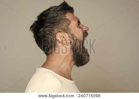 Guy Or Bearded Man On Grey Background. Hipster With Angry Face. Feeling And Emotions. Barber Fashion