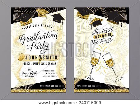 Graduation Party Class Of 2018 Vertical Invitation Card With Black Gold Hats, Glasses, Diploma. Back