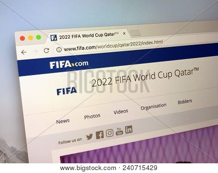Amsterdam, Netherlands - May 15, 2018: Website Of Fifa.com, Announcing The 2022 Fifa World Cup Qatar