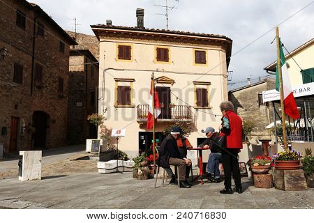 GAMBASSI TERME, ITALY - 09 MAY, 2018 - Street scene in Gambassi Terme, famous medieval village in Tuscany, Italy, Europe