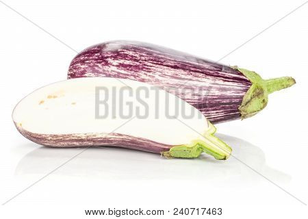 One Striped Purple Eggplant And Section Half Isolated On White Background