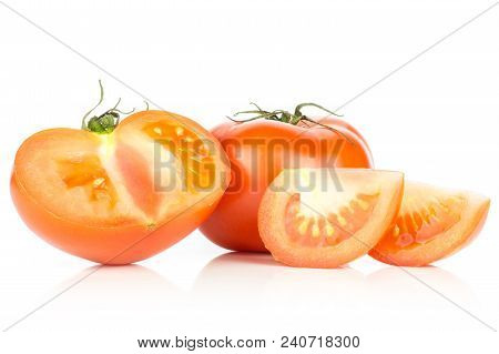 Sliced Red Tomato Set Isolated On White Background One Whole One Section Half And Two Slices
