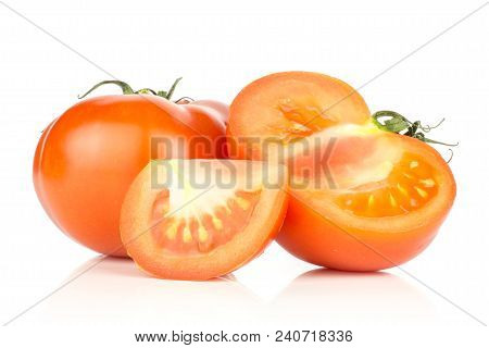 Red Tomato Set One Whole One Half And One Slice Isolated On White Background