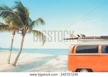 Vintage Car Parked On The Tropical Beach (seaside) With A Surfboard On The Roof - Leisure Trip In Th