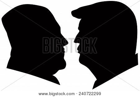 May 14, 2018: Us President Donald Trump And Kim Jong Un Black And White Silhouettes Illustration.