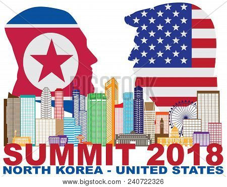 May 14, 2018: President Donald Trump And Kim Jong Un Silhouettes With Usa And North Korea Flags Summ