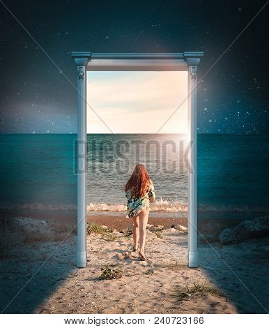 Girl Running To The Sea Through The Door. Overnight Door Leads To A Sunny And Warm Day. The Concept