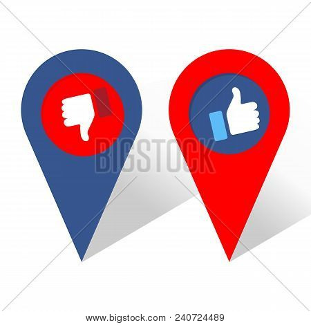 Like And Dislike Icon. Navigation Icon. Thumbs Up And Thumb Down, Hand Or Finger Illustration. Symbo
