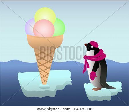 Penguin with an icecream