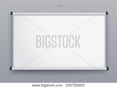 Presentation Screen, Blank Whiteboard, Wall Projector For Seminar, Empty Board For Conference, Meeti