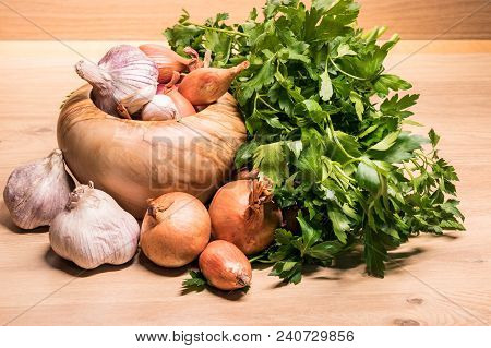 Garlic Onion Shallot Parsley With Pestle And Olive Wood Mortar