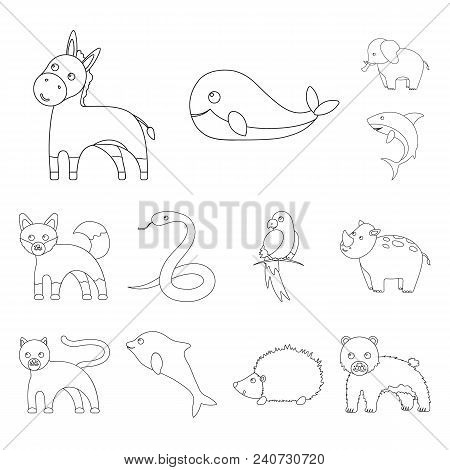 An Unrealistic Animal Outline Icons In Set Collection For Design. Toy Animals Vector Symbol Stock Il