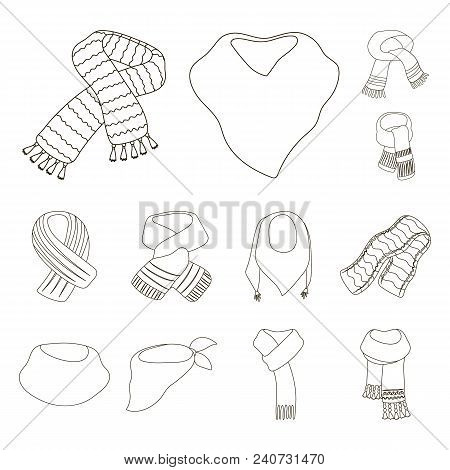Scarf And Shawl Outline Icons In Set Collection For Design.clothes And Accessory Vector Symbol Stock
