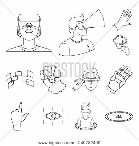 A Virtual Reality Outline Icons In Set Collection For Design. Modern Technology And Equipment Vector